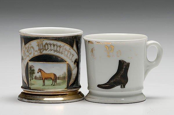 18: Two Occupational Shaving Mugs, Cobbler and Horseman