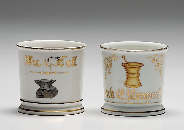 20: Two Occupational Shaving Mugs, Smith and Pharmacist