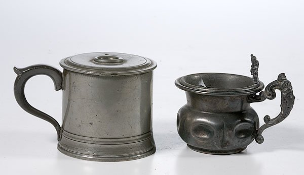 362: Rare Pewter Inhaler and Pewter Shaving Mug,