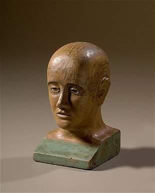 Folk Art Phrenology Head of Painted Wood,