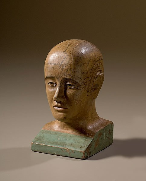 3: Folk Art Phrenology Head of Painted Wood,