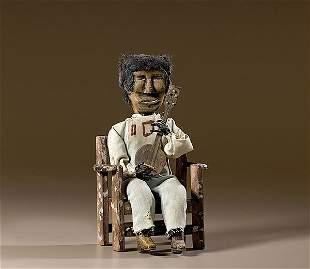 Southern Folk Art Figure of Black Banjo Player ,