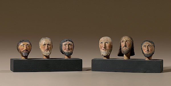 6: Southern Folk Art Carved Heads of Christ and Discipl