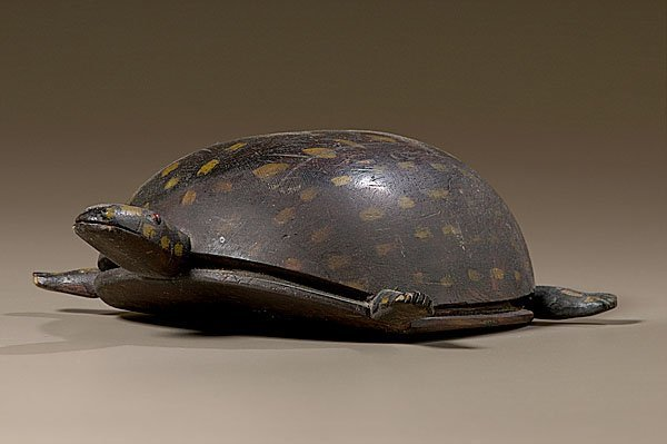 7: Folk Art Carved and Painted Turtle,