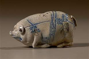 Anna Pottery Pig Flask with Rare Map and Size,