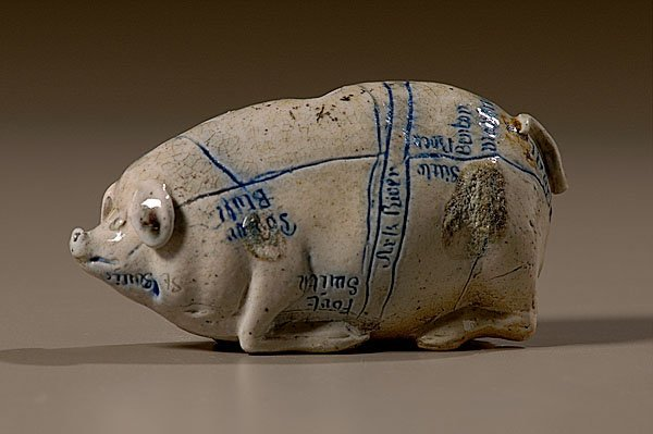 10: Anna Pottery Pig Flask with Rare Map and Size,