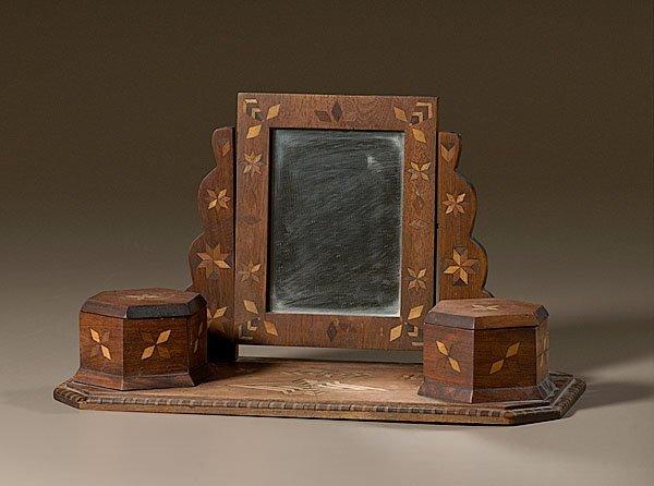 12: Folky Inlaid Walnut Dresser Mirror with Caddies,