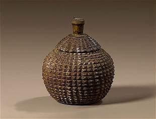 Rare Tramp Art Sugar Bowl with Lid,
