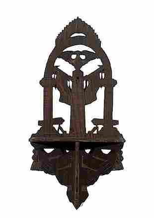 Carved Eagle Bracket Shelf and Good Luck Sign,