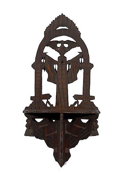 18: Carved Eagle Bracket Shelf and Good Luck Sign,