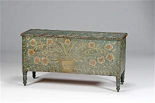 Painted Blanket Chest with Folky Decorations,