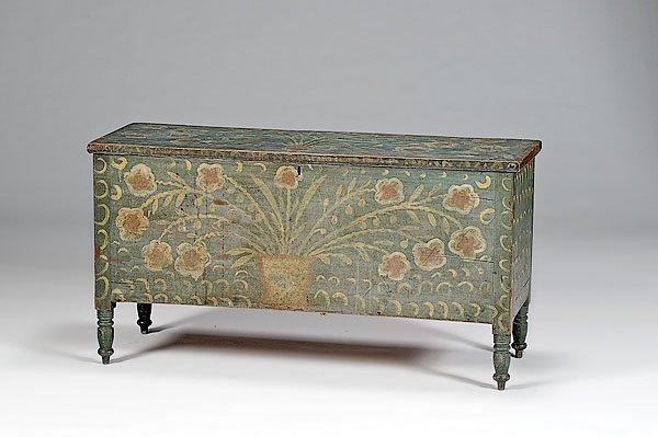 21: Painted Blanket Chest with Folky Decorations,