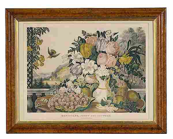 110: Large Folio Currier and Ives Landscape, Fruit and