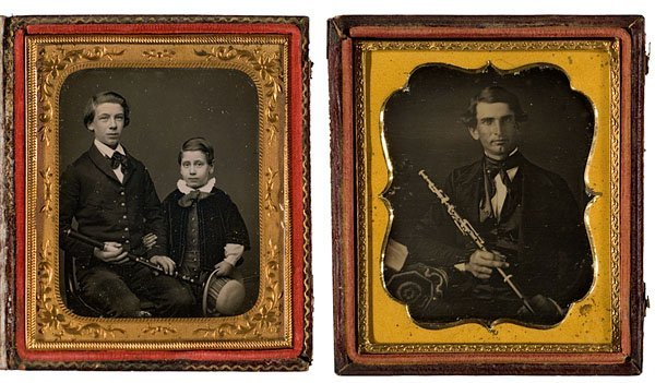 3: Sixth Plate Daguerreotypes of Musicians With Their F