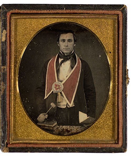 5: Tinted Daguerreotype of a Mason and His Gavel,