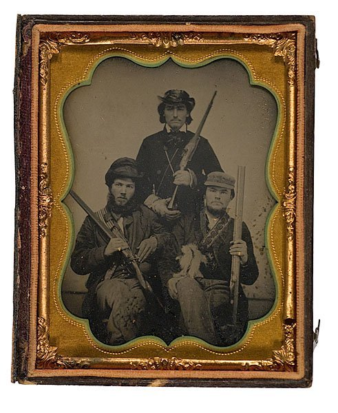 10: Three Armed Hunters, Quarter Plate Tintype,