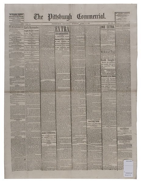 21: [NEWSPAPER] Lincoln Assassinated Broadside Extra,