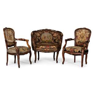A Louis XV-style Parlor Suite with Needlework...