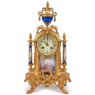 A French Porcelain and Gilt Bronze Mantel Clock by