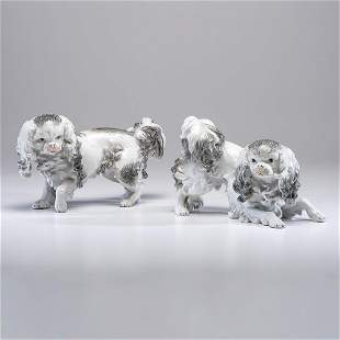 A Pair of Dresden Porcelain Dogs