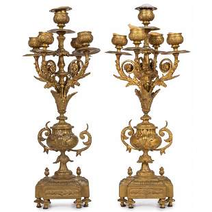 A Pair of Napoleon III Gilt Bronze Candelabra
