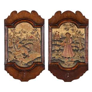 A Pair of George II Needlepoint Sconces