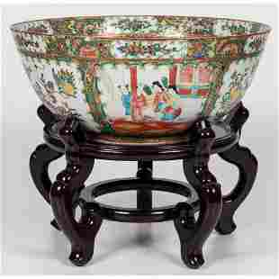 A Chinese Rose Medallion Porcelain Punch Bowl