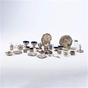 A Collection Of Sterling Silver Salts, Condiments...