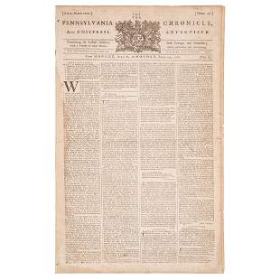 [SLAVERY & ABOLITION]. Pennsylvania Chronicle and