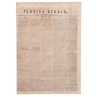 [SLAVERY & ABOLITION]. Florida Herald. Vol. VIII, No.