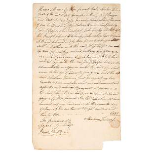 [SLAVERY & ABOLITION]. Bill of sale for enslaved young