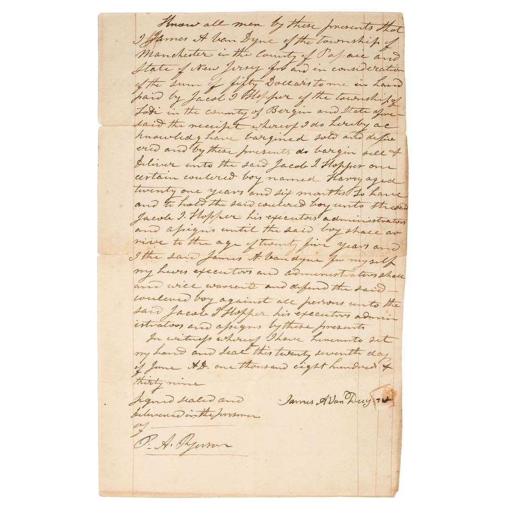 [SLAVERY & ABOLITION]. Bill of sale for enslaved man,