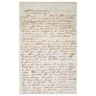 [SLAVERY & ABOLITION]. Letter regarding disputed