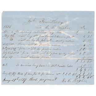 [SLAVERY & ABOLITION]. Handwritten medical bill for the