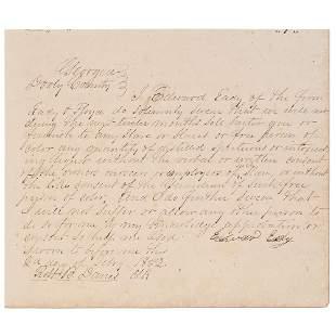[SLAVERY & ABOLITION]. Merchants' affidavits swearing