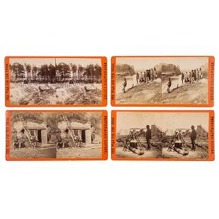 [CIVIL WAR]. A group of 4 stereoviews featuring African