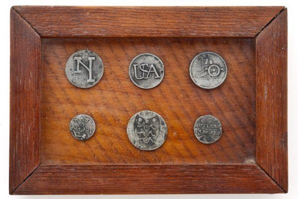 7: Framed Collection of Six Civil War Pewter Buttons,