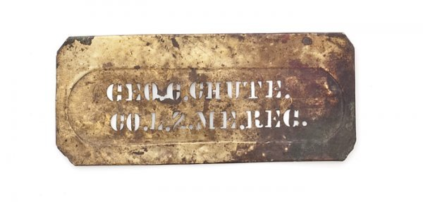 10: Brass Civil War Stencil for George C. Chute, 2nd Ma