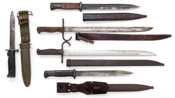 56: Lot of Five Military Bayonets,