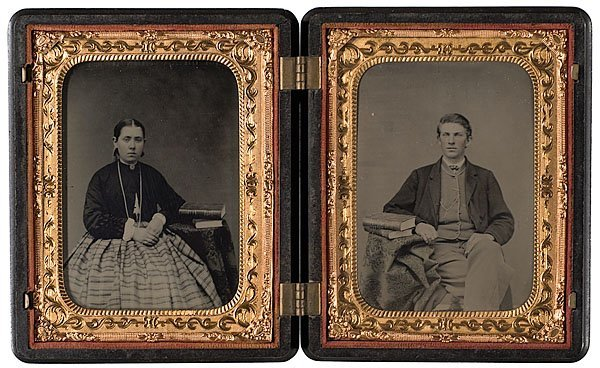 535: Union Quarter Plate Case with Double Tintype Portr