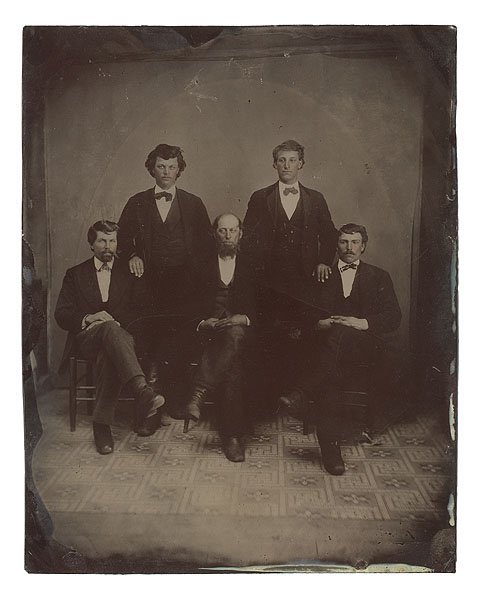 537: Full-Plate Tintype of Group of Gentlemen,