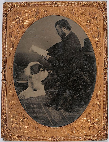 538: Topical Quarter Plate Tintype of Man with Dogs,