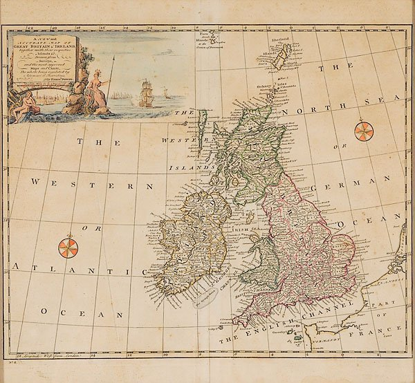864: 1747 Hand Colored Map of England & Ireland