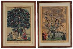 870 Two Small Folio Currier  Ives The Tree of Life a