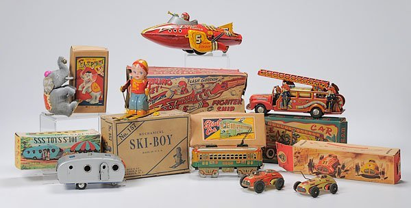 896: Six American & Japanese Chromolithographed Tin Toy