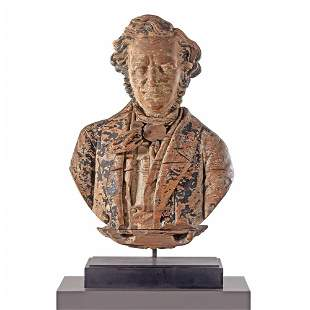 A Finely Carved Pine Sternboard Portrait Bust...