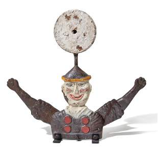 A William F. Mangels Painted Cast Iron Clown-Form...