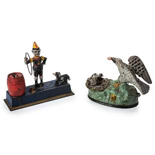 Two Cast-Iron Mechanical Banks: Trick Dog and Eagle...