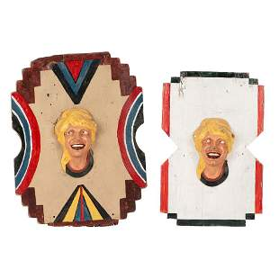 Two Alan Herschell Carved and Painted Wood and Metal...