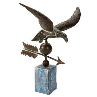 A Molded Copper and Cast Zinc Eagle Weathervane, Likely